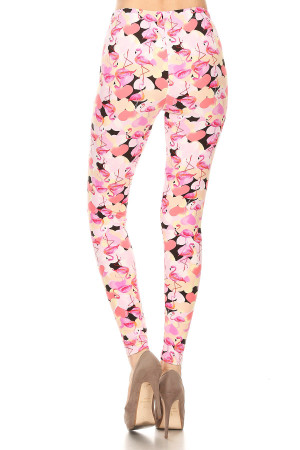 Back of Wholesale Buttery Soft Gorgeous Pink Flamingos Leggings - XSmall