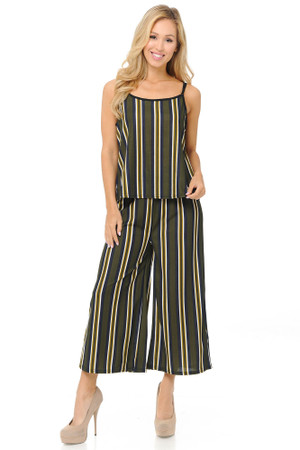 Wholesale Olive Stripes Summer Palazzo Capri and Spaghetti Tank Top Set