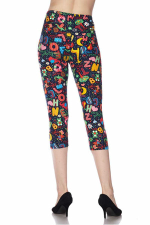 Wholesale Buttery Soft Animal Letters Plus Size Capris