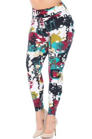 Wholesale Buttery Soft Summer Picasso High Waisted Plus Size Leggings