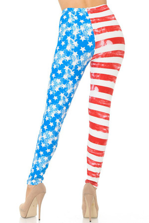 Wholesale Buttery Soft Vintage Pastel USA Flag Plus Size Leggings