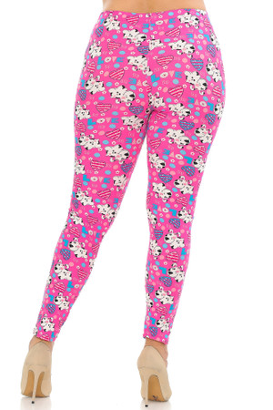 Wholesale Buttery Soft Pink Puppy Dogs Plus Size Leggings