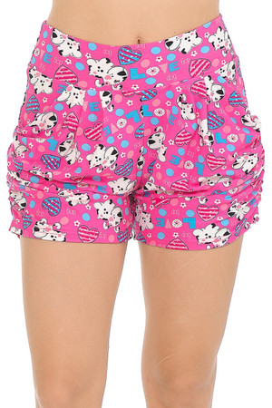 Wholesale Buttery Soft Pink Puppy Dogs Harem Shorts