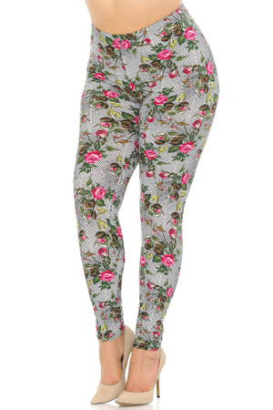 Wholesale Buttery Soft Floral Rose Mirage Extra Plus Size Leggings - 3X-5X