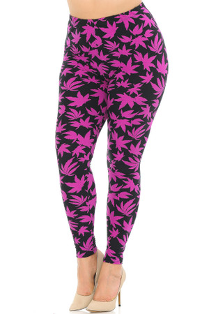 Wholesale Buttery Soft Solid Fuchsia Marijuana Plus Size Leggings