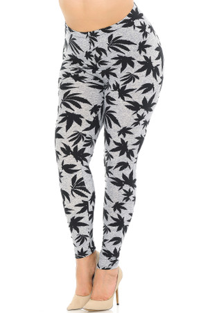 Wholesale Buttery Soft Solid Heather Grey Marijuana Extra Plus Size Leggings - 3X-5X