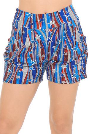 Wholesale Buttery Soft Metallic USA Flag Harem Shorts