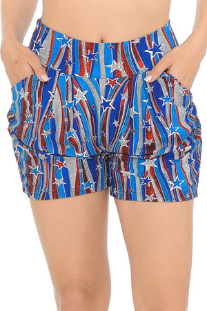 Wholesale Buttery Soft Metallic USA Flag Harem Shorts