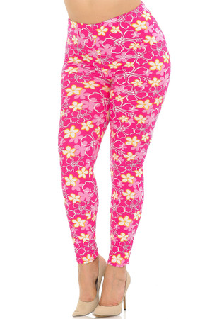 Wholesale Buttery Soft Pink Daisy Extra Plus Size Leggings - 3X-5X