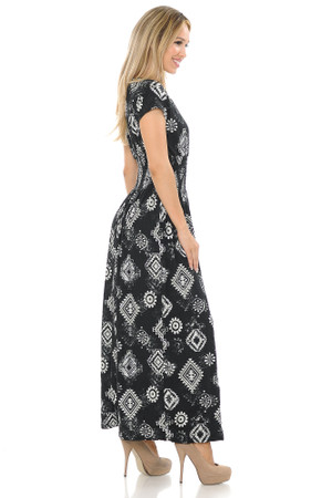 Wholesale Buttery Soft Short Sleeve Regalia Tribal Maxi Dress