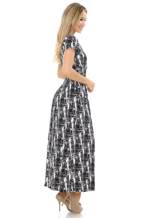 Wholesale Buttery Soft Short Sleeve Splattered Lines Maxi Dress