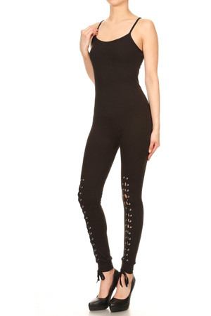 Wholesale Buttery Soft Spaghetti Strap Thigh Lace Up Jumpsuit
