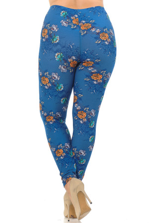 Wholesale Buttery Soft Denim Blue Floral Rose Extra Plus Size Leggings - 3X-5X
