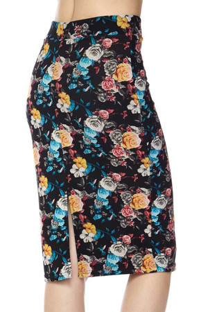 Wholesale Silky Soft Colorful Floral Bunch Scuba Pencil Skirt