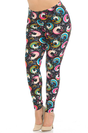 Wholesale Buttery Soft Groovy Hip Unicorn Plus Size Leggings