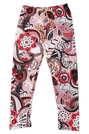 Wholesale Buttery Soft Pink and Rose Paisley Kids Leggings