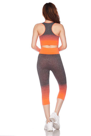 Back Orange Wholesale Premium 2 Color Ombre Sport Bra and Capri Set