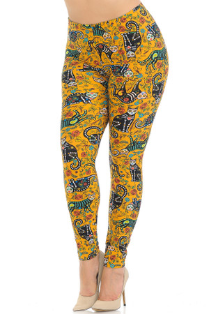 Wholesale Buttery Soft Kitty Cat Mustard Sugar Skull Plus Size Leggings
