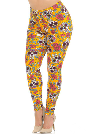 Wholesale Buttery Soft Mustard Summer Sugar Skull Plus Size Leggings