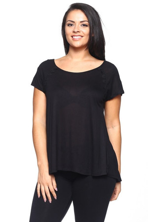 Wholesale Round Neck Lace Trim Split Back Plus Size Rayon T-Shirt