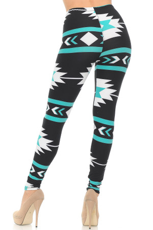 Wholesale Buttery Soft Mint on Black Azteca Tribal Leggings