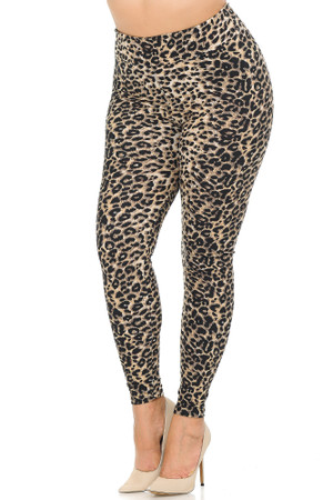 Wholesale Buttery Soft Feral Cheetah Extra Plus Size Leggings - 3X-5X