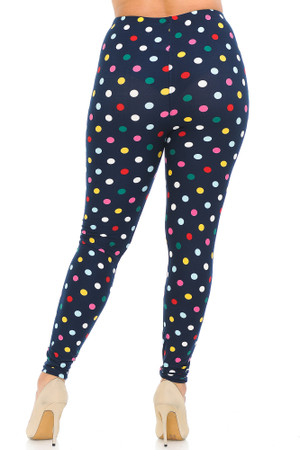 Wholesale Buttery Soft Colorful Polka Dot Plus Size Leggings - 3X-5X