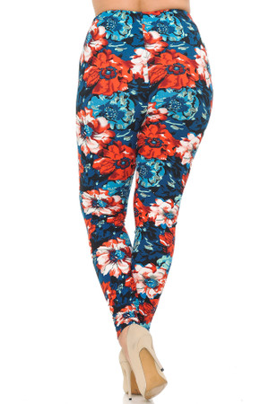 Wholesale Buttery Soft Painted Floral Plus Size Leggings