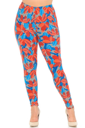 Wholesale Buttery Soft Red and Blue Cactus Plus Size Leggings