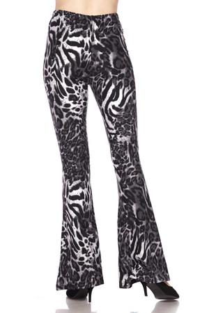 Wholesale Buttery Soft Black and White Siberian Tiger Bell Bottom Leggings