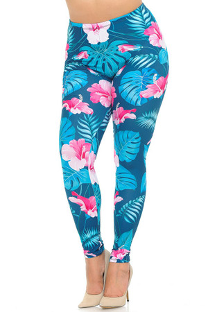 Wholesale Soft Double Brushed Tropical Pink  Flowers Plus Size Leggings
