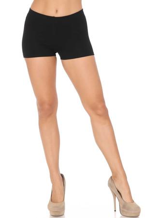 Front Black Wholesale USA Cotton Boy Shorts