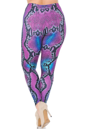 Wholesale Creamy Soft Pink and Blue Snakeskin Extra Plus Size Leggings - 3X-5X - USA Fashion™