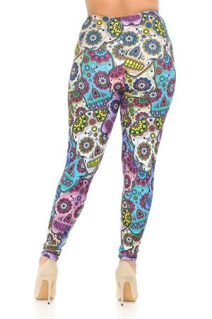 Legging Femme Sugar Skull Design Fashion Sport Yoga-S à 4XL-taille LL0070