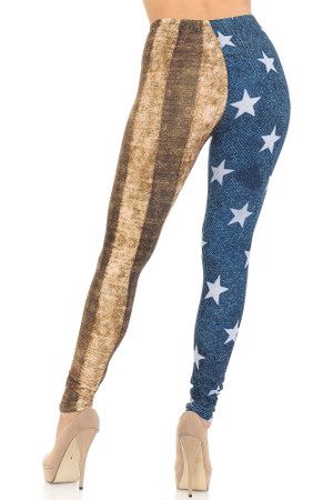 Wholesale Creamy Soft Vintage USA Flag Leggings - USA Fashion™