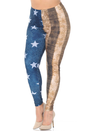 Wholesale Creamy Soft Vintage USA Flag Extra Plus Size Leggings - 3X-5X - USA Fashion™