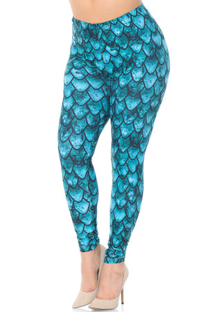 Wholesale Creamy Soft Green Dragon Extra Plus Size Leggings - 3X-5X - USA Fashion™