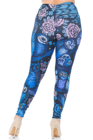 Wholesale Creamy Soft Blue Owl Collage Plus Size Leggings - USA Fashion™