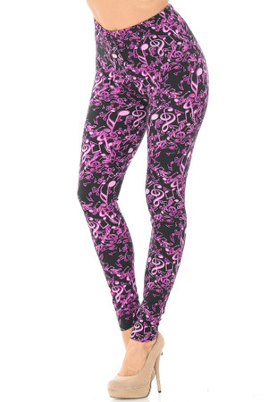 Wholesale Buttery Soft Electric Fuchsia Music Note Leggings