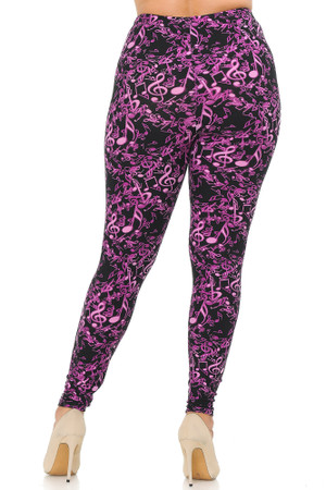 Wholesale Buttery Soft Electric Fuchsia Music Note Extra Plus Size Leggings - 3X-5X