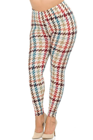 Wholesale Buttery Soft Earth Tone Pixel Zags Extra Plus Size Leggings - 3X-5X