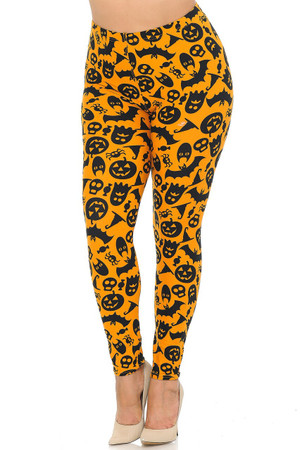 Wholesale Buttery Soft Halloween Plus Size Leggings