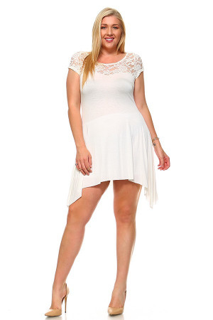 Wholesale Duo Fabric Short Sleeve Lace Detail Asymmetrical Plus Size Dress