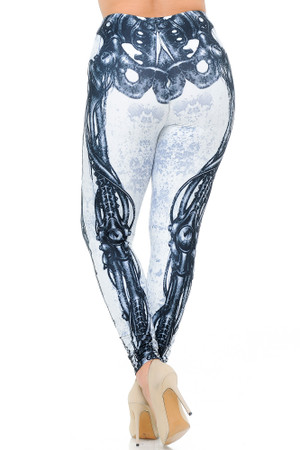 Wholesale Creamy Soft White Bio Mechanical Skeleton Extra Plus Size Leggings (Steam Punk) - 3X-5X - USA Fashion™