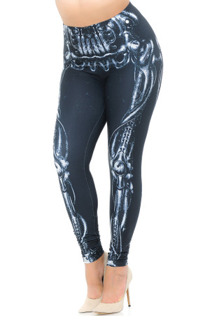 Wholesale Creamy Soft Black Bio Mechanical Skeleton Extra Plus Size Leggings (Steam Punk) - 3X-5X - USA Fashion™