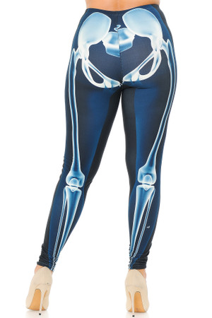 Wholesale Creamy Soft Radioactive Skeleton Bones Extra Plus Size Leggings - 3X-5X - USA Fashion™