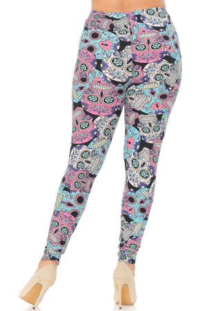 Wholesale Buttery Soft Pastel Sugar Skull Plus Size Leggings