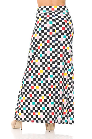 Wholesale Buttery Soft Color Accent Checkered Maxi Skirt