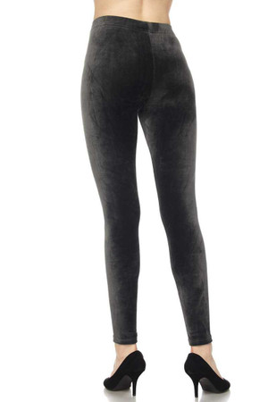 Wholesale Solid Brushed Velour Velvet Plus Size Leggings