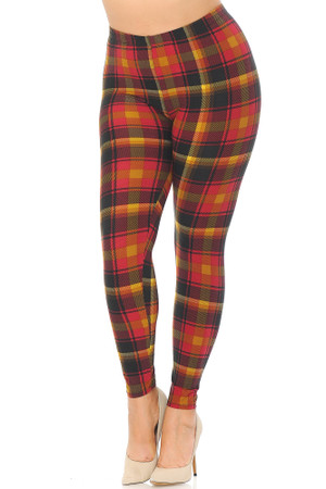 Wholesale Buttery Soft Winter Sunset Plaid Extra Plus Size Leggings - 3X-5X